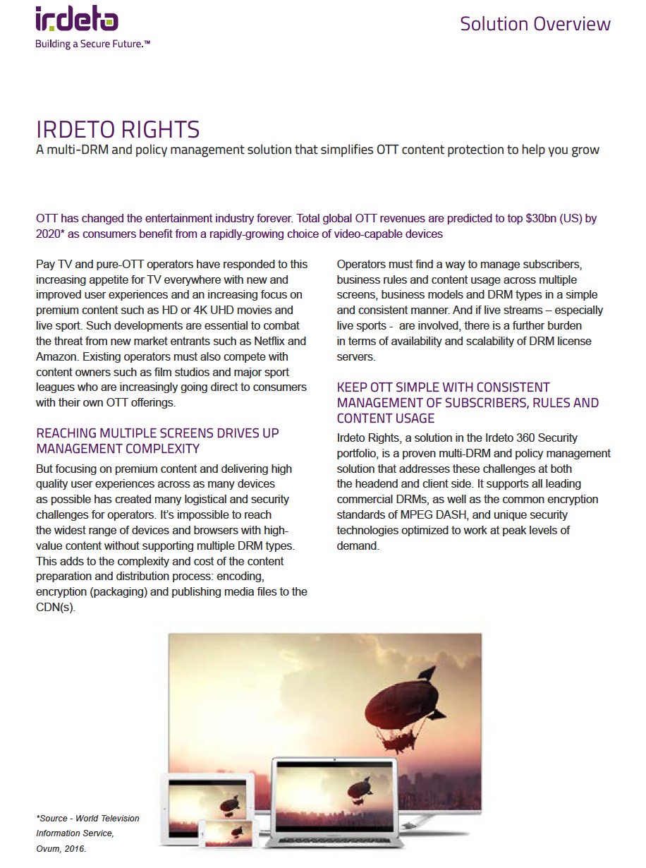 Multi-DRM & Rights Management - Irdeto